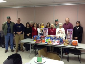 Caney Fork Chapter members at their 2012 Holiday meeting with toy donations for the Warren County Rescue Squad