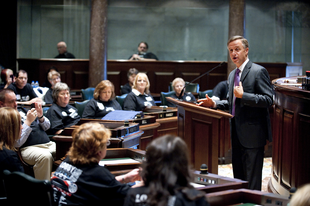 Governor Bill Haslam offers welcoming remarks at TSEA's Lobby Day
